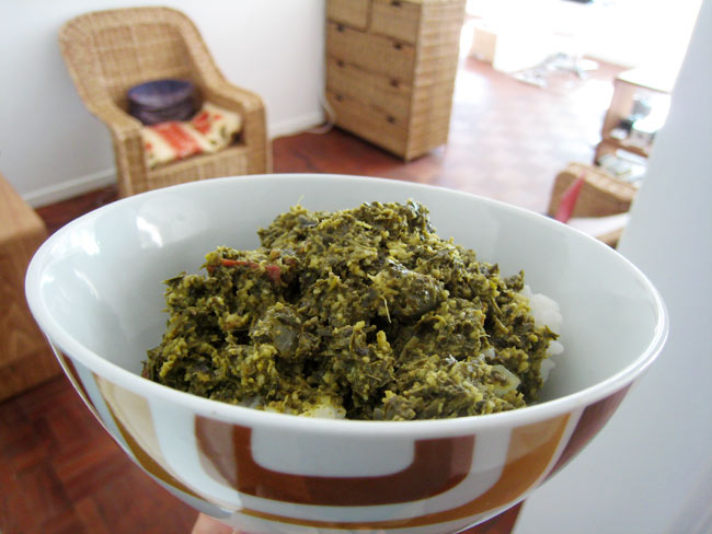 My first home made matapa (cassava leaves) + furniture appearing in the living room